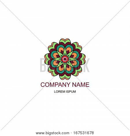 Business logo. Floral Oriental logo. Company logo in the oriental-style. Colorful round logo. Flower Decoration
