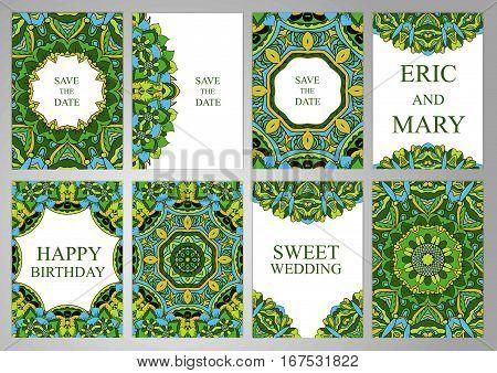 Wedding Set postcards backgrounds invitations in oriental style. East ornament Ramadan India Islam. Cover Magazine Oriental elements. Holidays weddings birthdays. Design background
