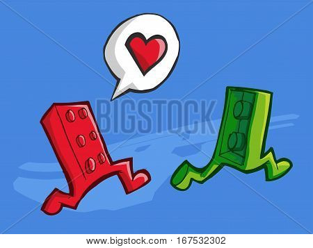 Vector illustration of two bricks pieces running. Love concept.