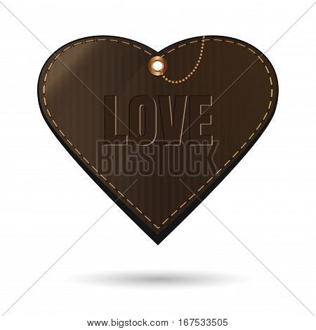 Brown leather heart. Vintage style sale tags as heart. Decoration element for Saint Valentine's Day. Vector illustration isolated on white background