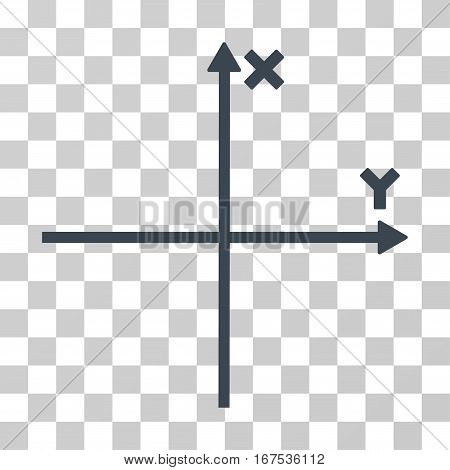 Cartesian Axes vector pictogram. Illustration style is flat iconic smooth blue symbol on a transparent background.