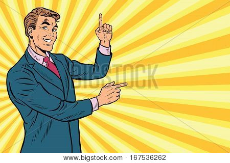 Businessman points up and sideways to copy space background, pop art retro vector. Beautiful promo man