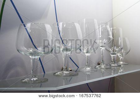 Glass wine glasses in a shopping pomschenii. Sale