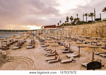 The beach of the Red Sea, Hurghada, Egypt