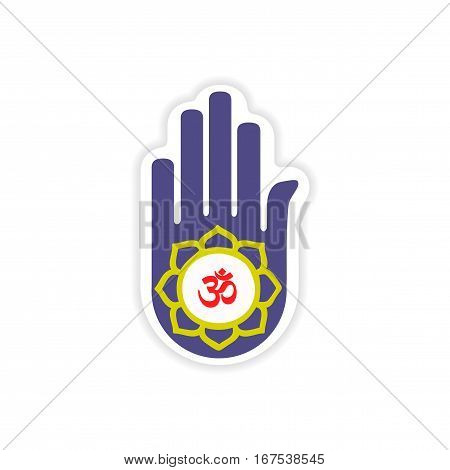 paper sticker Indian sign on white background