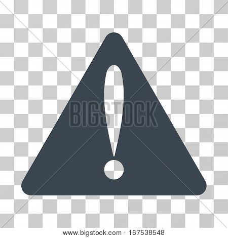 Warning Error vector icon. Illustration style is flat iconic smooth blue symbol on a transparent background.