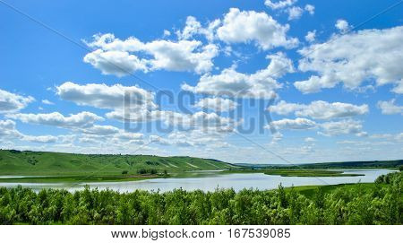 Natural landscape, view of the river from the top of a hill in Russia