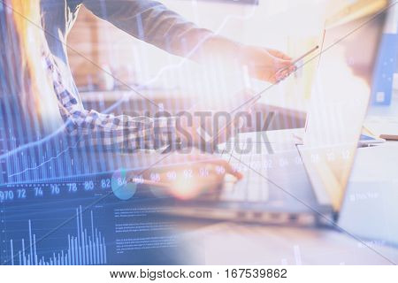 Business People Meeting Planning Analysis Statistics Brainstorming abstract background. Finance strategy statistics concept