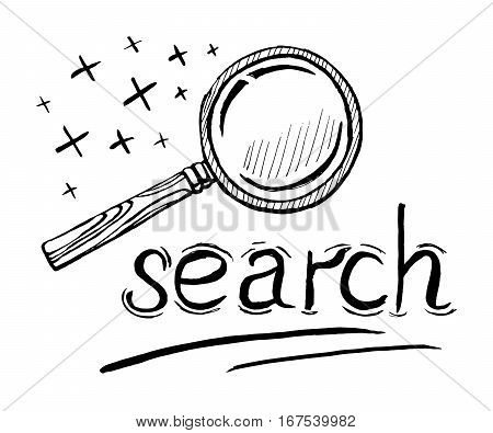 Vector black hand draw sketch illustration of magnifying glass with wooden handle.