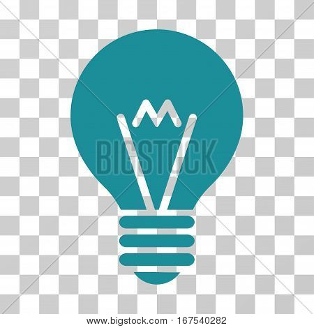 Hint Bulb vector pictograph. Illustration style is flat iconic soft blue symbol on a transparent background.