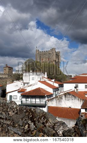 Castle and houses in the fortress of BragancaTrás-os-Montes Portugal
