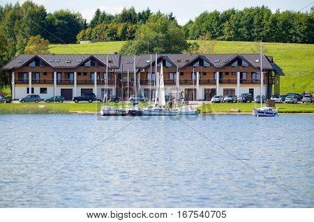 PLATELIAI - SEP 4: Plateliai Yacht Club on 4 Sep. 2011, Zemaitija National Park, Samogitia, Plateliai, Lithuania. Lake Plateliai is the biggest lake in Samogitia and 9th biggest in Lithuania.