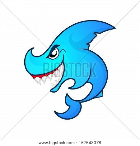 Hungry angry shark ocean logo vector illustration