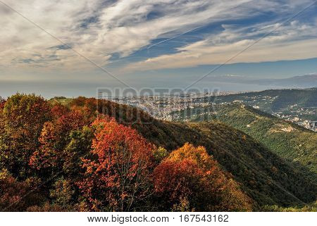 Panoramic view of Genoa seen from surrounding hills during the fall