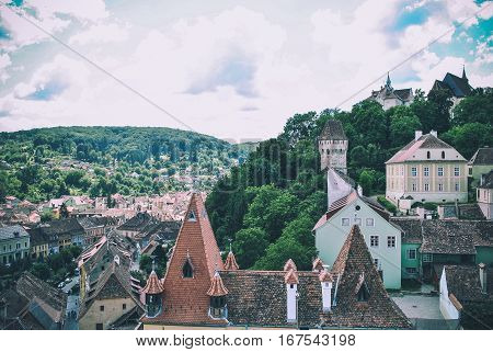 The view from the tower of the city of Sighisoara, Transylvania, Romania