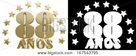 Golden digit eighty eight and the word of the year decorated with stars. Translated from the Spanish. 3D illustration