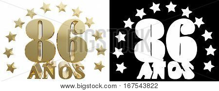 Golden digit eighty six and the word of the year decorated with stars. Translated from the Spanish. 3D illustration