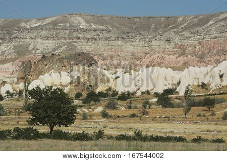 Large colourful rocks and mountains in capadoccia Turkey.
