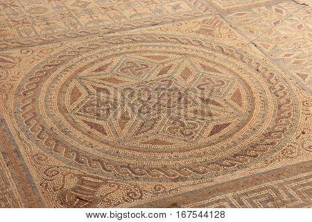 Geometric mosaic Roman ruins of the ancient city of Conimbriga Beiras region Portugal