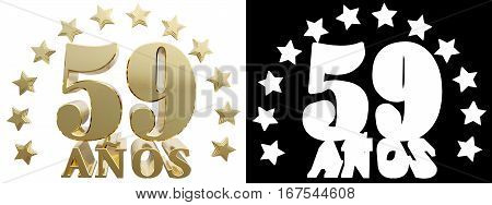 Golden digit fifty nine and the word of the year decorated with stars. Translated from the Spanish. 3D illustration