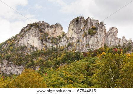 Panorama of the rocky mountain top of Seneca Rocks in West Virginia