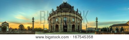 Panoramic view of Bode Museum in Berlin, Germany