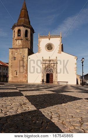 Church of Saint John the Baptist and Republic Square Tomar Estremadura Ribatejo Portugal