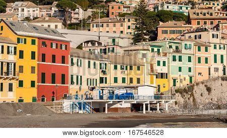 Typical colored houses in the seafront of Bogliasco near Genoa