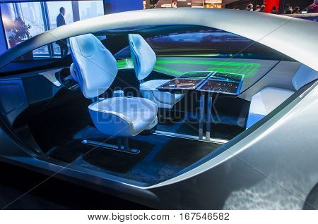 LAS VEGAS - JAN 08 : The Panasonic Automotive Concept car at the CES Show in Las Vegas Navada on January 08 2017. CES is the world's leading consumer-electronics show.
