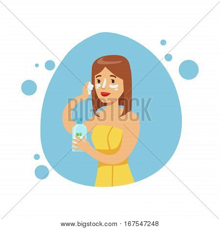 Woman Applying Moisturizing Cream On Face, Part Of People In The Bathroom Doing Their Routine Hygiene Procedures Series. Person Using Lavatory Room For The Daily Washing And Personal Cleanup Vector Illustration.