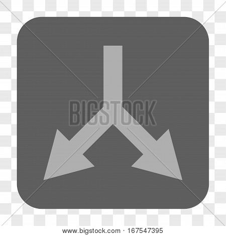 Bifurcation Arrow Down interface toolbar button. Vector icon style is a flat symbol on a rounded square button light gray and gray colors chess transparent background.