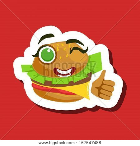 Burger Sandwich Showing Thumbs Up, Cute Emoji Sticker On Red Background. Humanized Fast Food Character Isolated Icon In Colorful Cartoon Design.