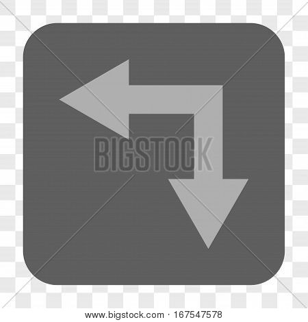 Bifurcation Arrow Left Down interface toolbar button. Vector icon style is a flat symbol inside a rounded square button light gray and gray colors chess transparent background.