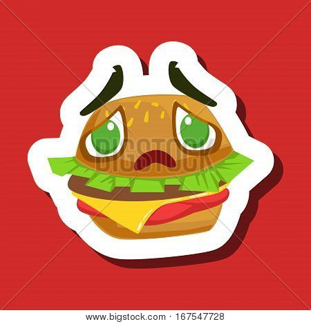 Disappointed And Sad Burger Sandwich, Cute Emoji Sticker On Red Background. Humanized Fast Food Character Isolated Icon In Colorful Cartoon Design.