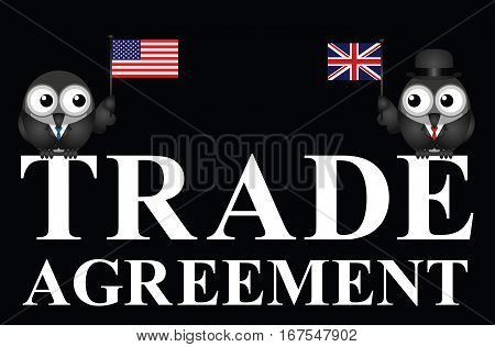 Representation of USA UK transatlantic trade agreement negotiations isolated on black background