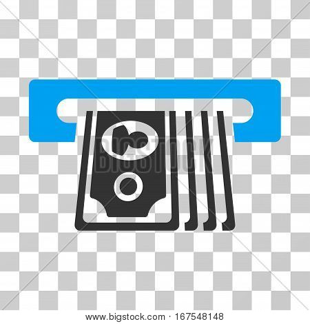 ATM Insert Cash icon. Vector illustration style is flat iconic bicolor symbol blue and gray colors transparent background. Designed for web and software interfaces.