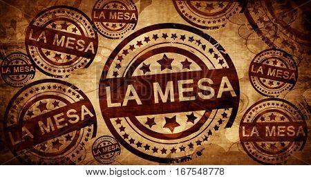 la mesa, vintage stamp on paper background