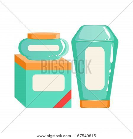 Cream, Shampoo And Box Of Wipes Containers, Beauty And Skincare Product Line Set Template Design. One Brand Items For The Cosmetic Treatment And Beautifying Procedures Cartoon Objects.