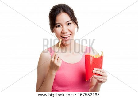 Beautiful Asian Healthy Girl Eat  French Fries.