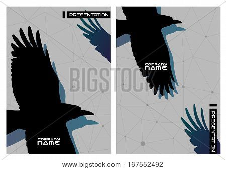 Vector set of gothic stiled of presentation with crows.Business design template. Stylish card for new brand