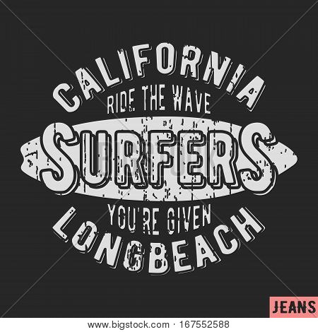 T-shirt print design. California surfers vintage stamp. Printing and badge applique label t-shirts jeans casual wear. Vector illustration.