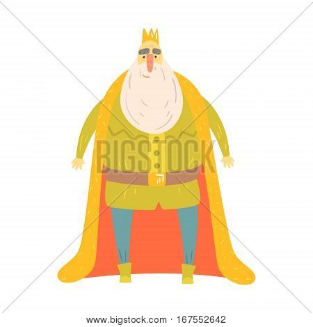 Fat Gentle King With Bushy White Beard In Red Mantle Fairy-Tale Cartoon Childish Character. Monarch From Kids Stories With The Crown Cute Portrait Vector Illustration