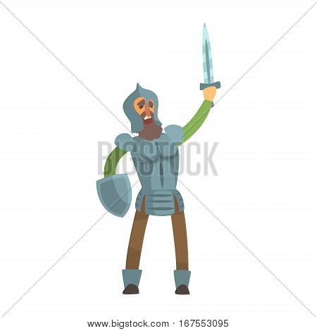 Knight Leading Attack With Sword And Shield Fairy Tale Cartoon Childish Character. Flat Vector Illustration With Medieval Soldier Legend Story Hero