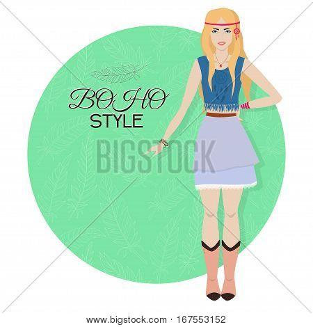 Young Beautiful Woman. Boho Style Fashion Girl. Vector Illustration.