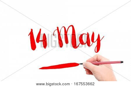 14 May written by hand on a white background