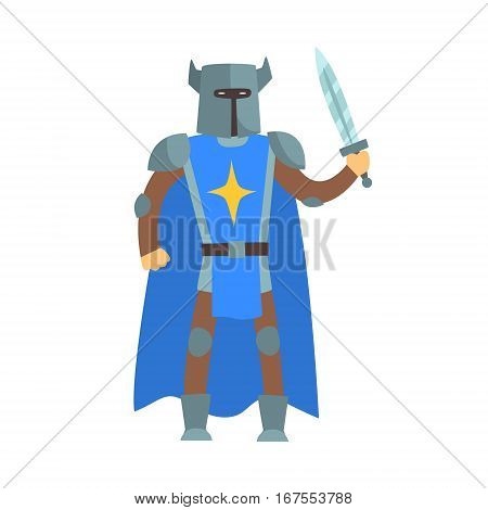 Crusader Knight In Blue Cape With Sword And Sword Fairy Tale Cartoon Childish Character. Flat Vector Illustration With Medieval Soldier Legend Story Hero