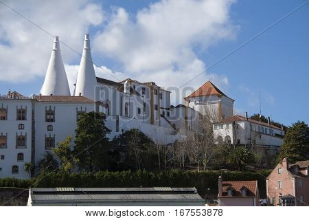View Of The White Sintra Castle In Portugal
