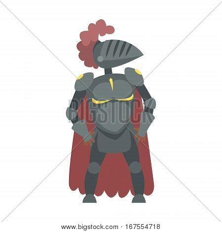Knight With Burgundy Cape And Plumage Fairy Tale Cartoon Childish Character. Flat Vector Illustration With Medieval Soldier Legend Story Hero