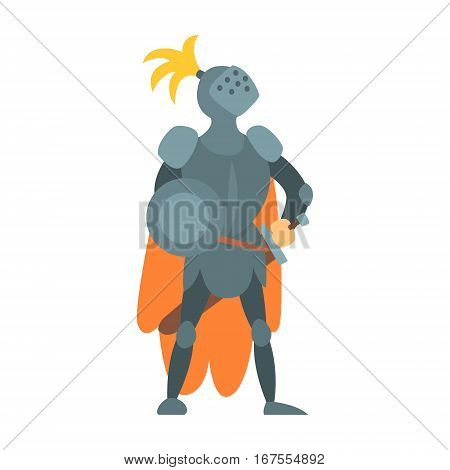 Knight Fairy With Orange Cape And Shield Tale Cartoon Childish Character. Flat Vector Illustration With Medieval Soldier Legend Story Hero
