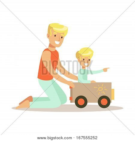 Dad And Son Playing With Cardboard Car, Loving Father Enjoying Good Quality Daddy Time With Happy Kid. Child And Parent Having Fun Together Vector Cartoon Illustration.